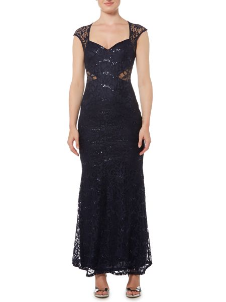 Jessica Wright Cap Sleeve Sequin Maxi Dress