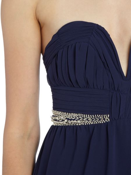 tfnc Bandeau Embellished Waist Maxi Dress