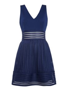 tfnc V Neck Textured Fit and Flare Dress