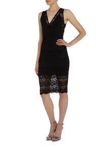 tfnc Sleeveless V Neck Lace Bodycon Dress