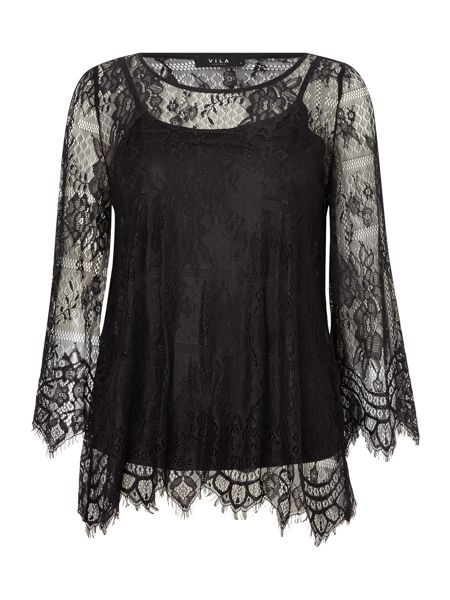 Vila 3/4 Sleeve Lace Top