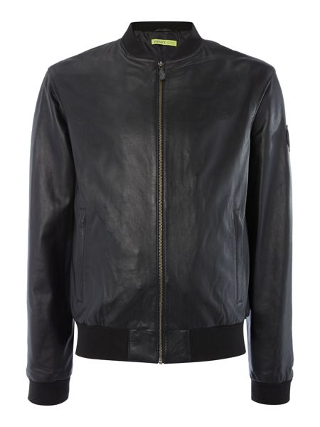 Versace Jeans Zip through baseball collar leather jacket