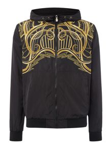 Versace Jeans Zip through lightweight printed hoodied jacket