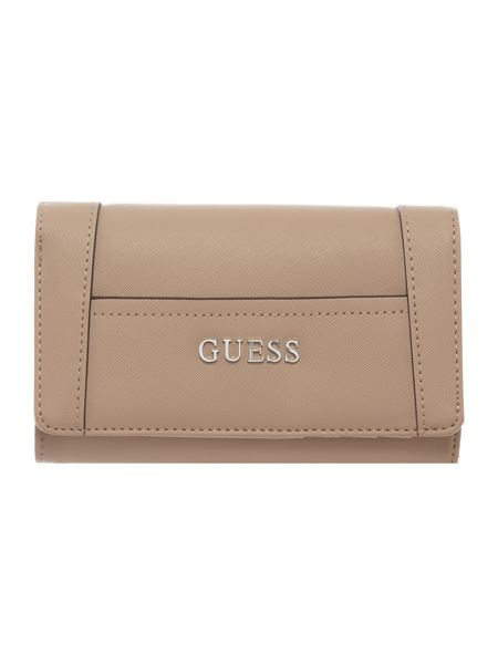 Guess Delaney taupe flapover purse