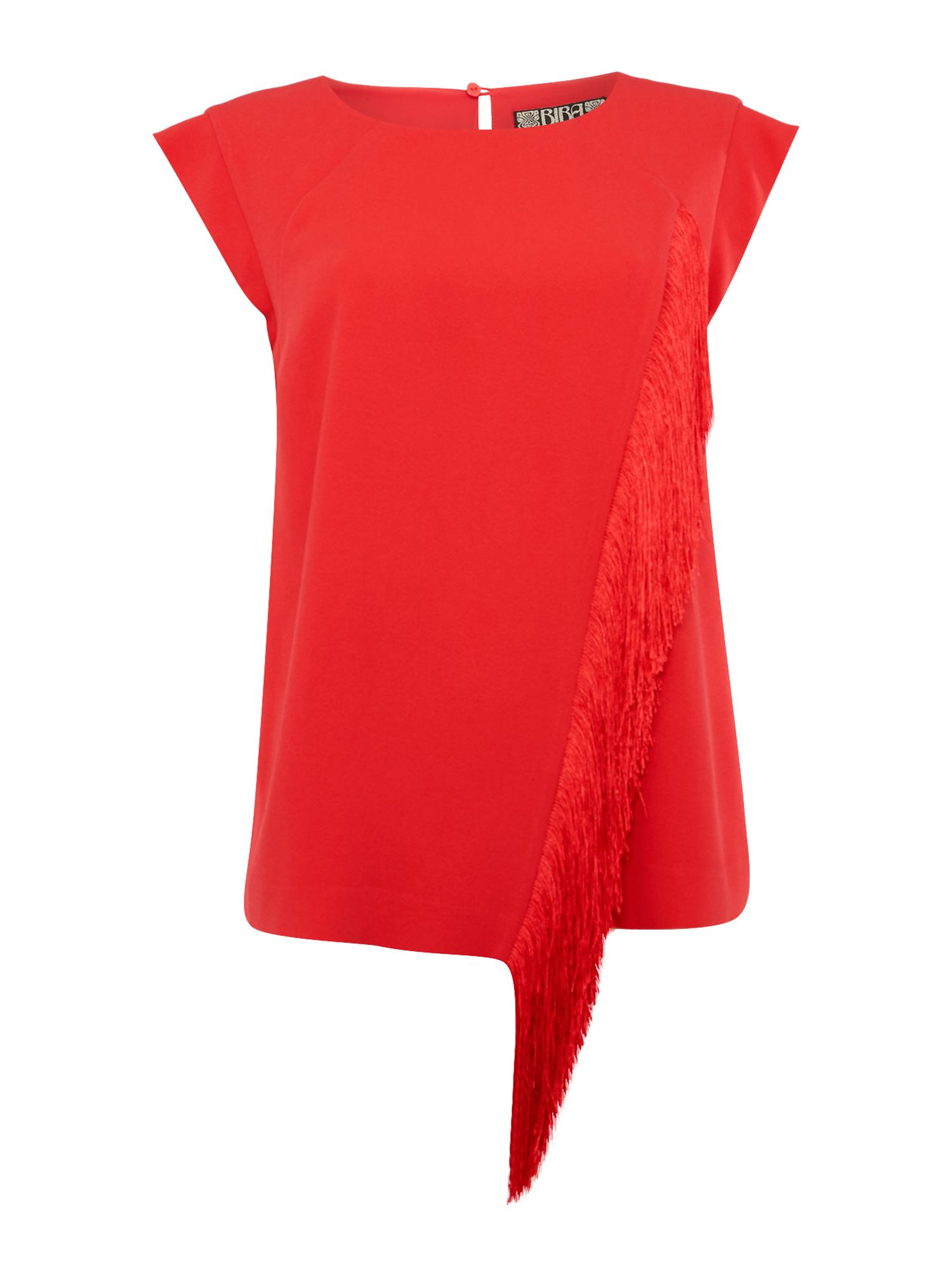 Biba Fringed cap sleeve blouse, Red