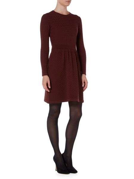Marella Liquore long sleeve textured fit and flare dress