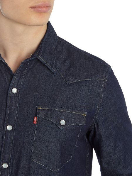 Levi's Slim fit barstow western dark wash denim shirt