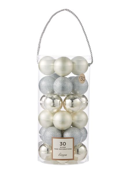 Linea Set of 30 glass bauble pack in silver