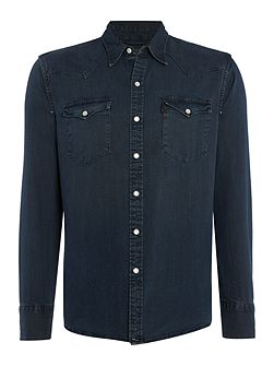 Slim fit barstow western smokey dark denim shirt