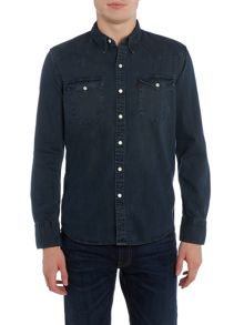 Levi's Slim fit barstow western smokey dark denim shirt