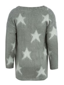 name it Girls Knitted All Over Star Fluffy Cardigan