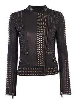 Limited edition black studded leather jacket