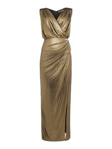 Biba Wrap detail metallic maxi dress