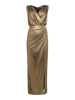 Wrap detail metallic maxi dress