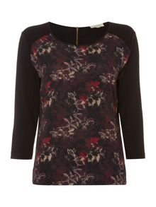 Linea Woven front floral print top