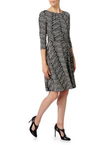 Linea Herringbone print full skirted dress