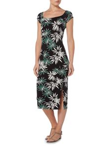 Therapy Palm Print Bandeau Body Con Dress