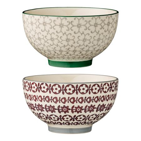 Bloomingville Karine bowls dark green/purple, set of 2