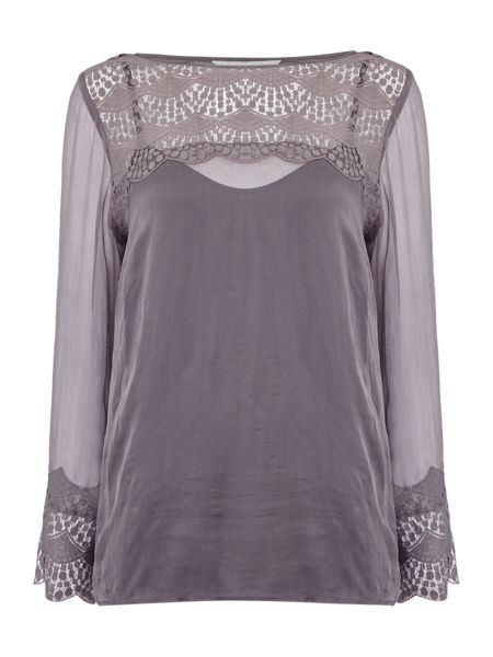Gray & Willow Lali lace yoke and cuff top