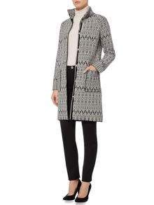 Max Mara Alcide printed long line wool jacket