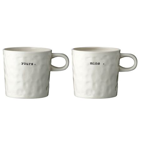 Bloomingville Mugs `yours/mine` set of 2