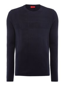 Hugo Seck Grid Print Crew Neck Knit