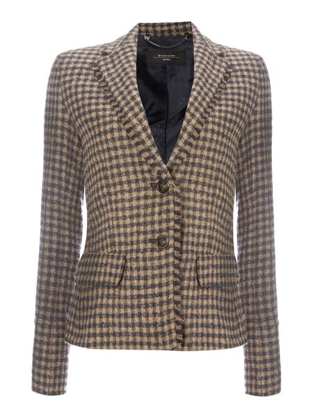 Max Mara Salita gingham long sleeve wool blazer