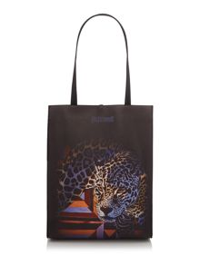 Just Cavalli Leopard blue print tote bag