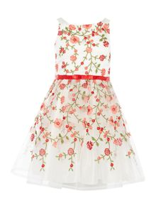 Little Misdress Girls Rose Embriodred Prom Dress with Bow