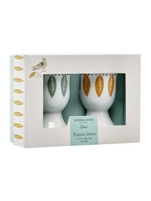 Dickins & Jones Turtle dove porcelain egg cups set of 2
