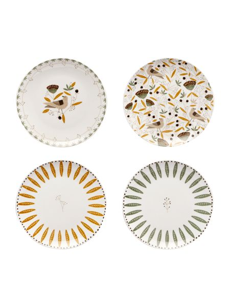 Dickins & Jones Turtle dove porcelain desert plates set of 4
