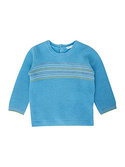 Baby Crew Ribbed With Stripe Chest Panel