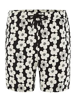 Drawstring all over flower print jersey shorts