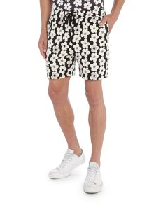 Soulland Drawstring all over flower print jersey shorts