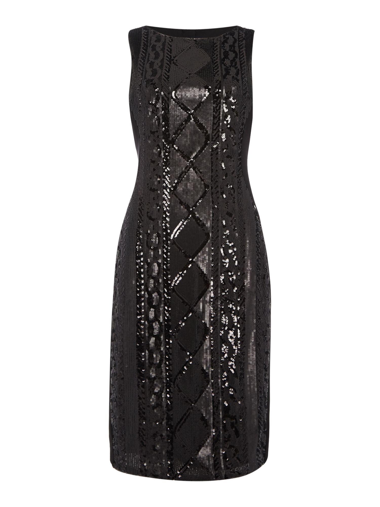 Adrianna Papell Sleeveless Beaded Front Cocktail Dress, Black