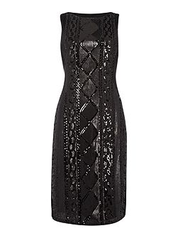 Sleeveless Beaded Front Cocktail Dress