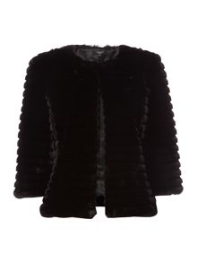 Therapy Kira Cropped Faux Fur Jacket