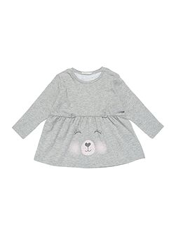 Girls Crew Cute Bear Face Top