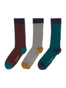 Ted Baker Baghera 3 Pack Assorted Print Socks