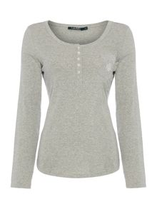 Lauren Ralph Lauren Ribbed henley lounge top
