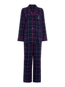 Lauren Ralph Lauren Classic notch collar long pyjama pant set