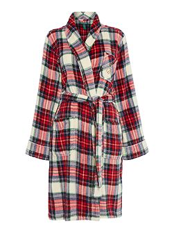 Folded short shawl plaid collar robe