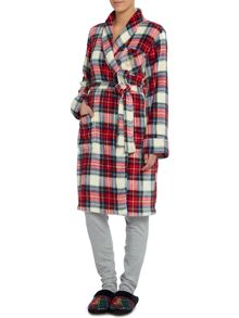 Lauren Ralph Lauren Folded short shawl plaid collar robe