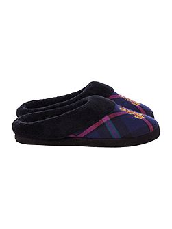 Fleece lined tartan slipper