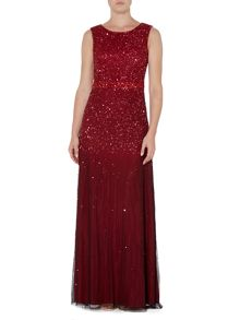 Adrianna Papell Sleevless ombre sequin dress