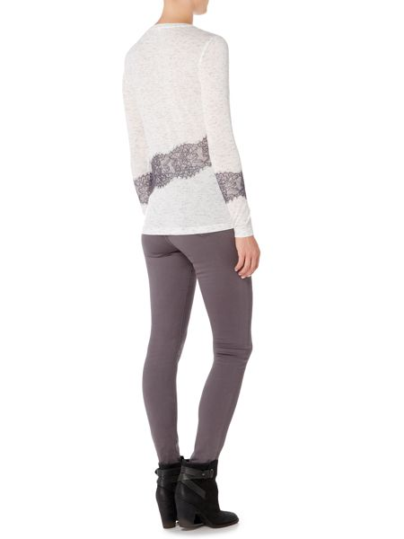 Gray & Willow Nia nep and lace jersey top