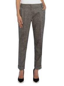 Max Mara Lontra herringbone tweed cuffed hem trousers