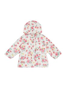 Benetton Newborn Padded Floral Print Jacket with Hood