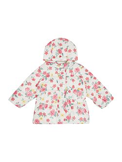 Newborn Padded Floral Print Jacket with Hood