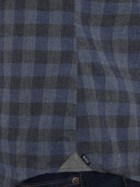 Hugo Boss Reid 4FP slim fit marl large gingham check shirt